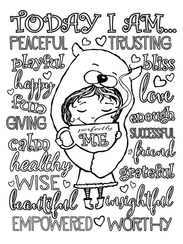 Positive Affirmation Coloring Pages Gallery For