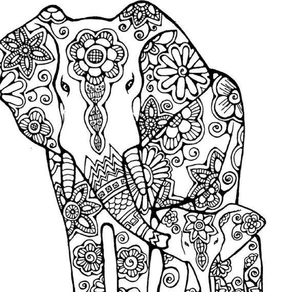Elephant Adult Coloring Page:Original Hand by