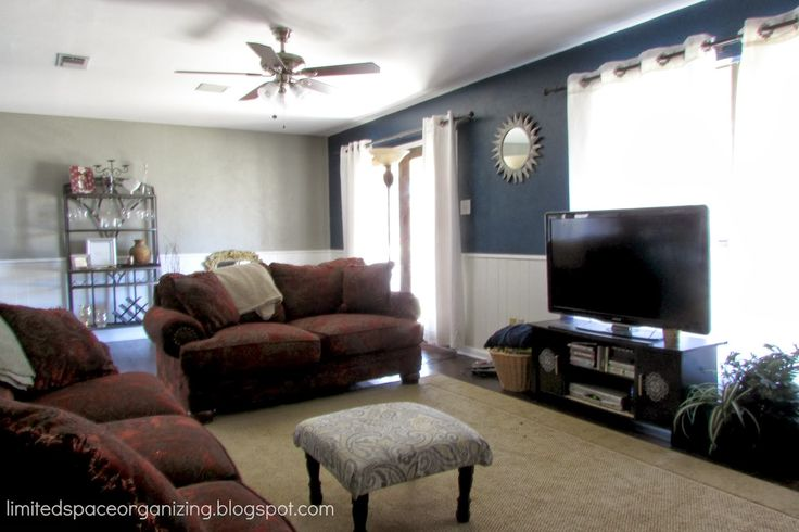dark blue wall white wainscoting living room  Google