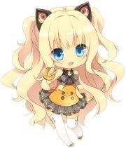 blonde haired neko chibi girl