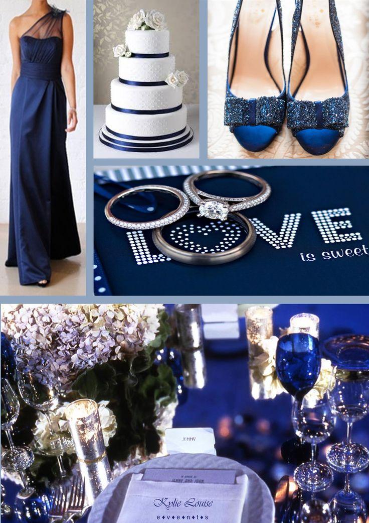 Navy Blue Wedding Hydrangeas with silver votives  Color