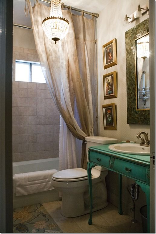 this looks like a small bathroom made to look large and