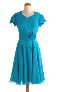 #bridesmaid V Neck Short Chiffon Ocean Blue Bridesmaid