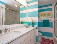 turquoise striped beach house bathroom   Bathroom Love ...