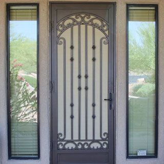First impressions wrought iron screen doors with glass