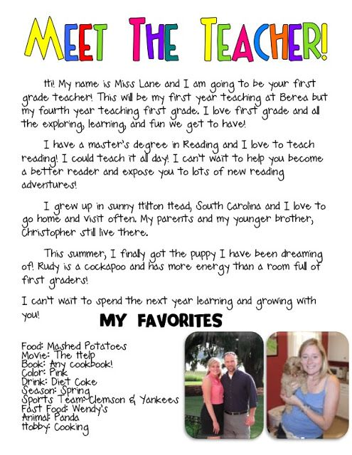 Meet the Teacher- introduction letter | First Days of School | Pinterest | About me. Teaching and Letter templates