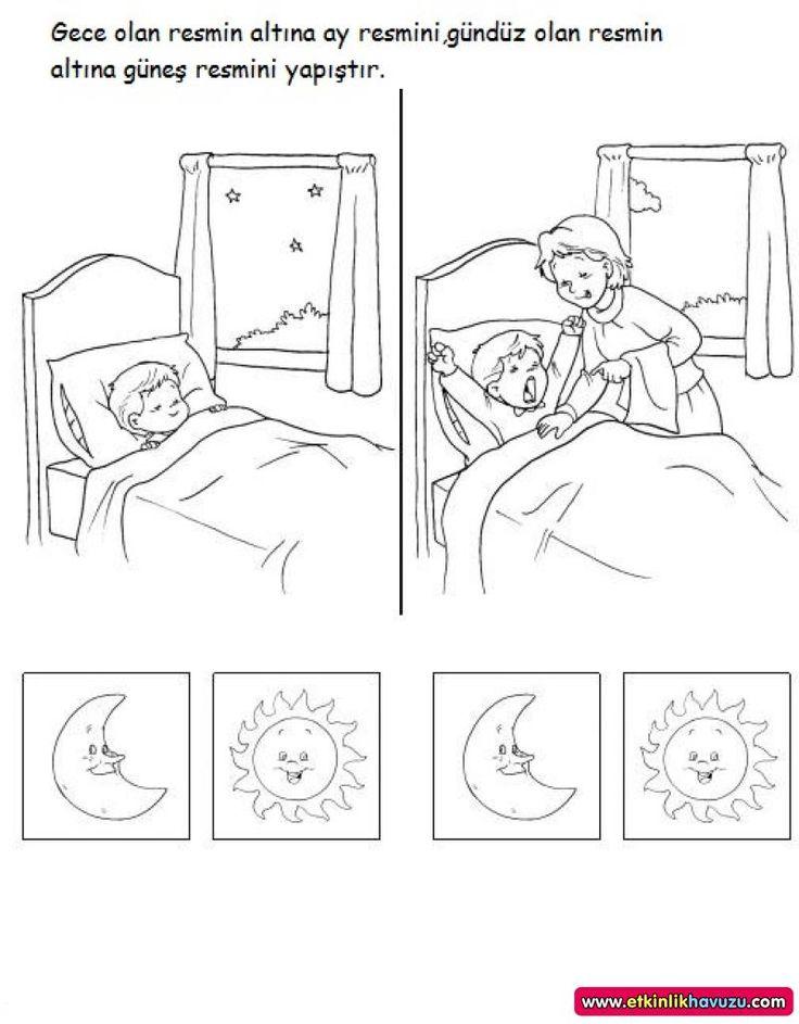 sabah, öğle ve akşam zaman kavramı ile ilgili okul öncesi