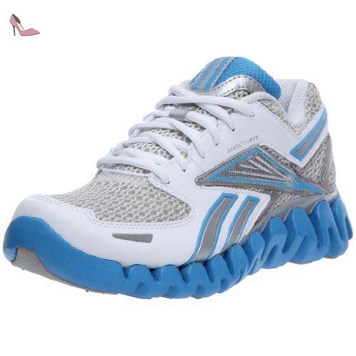 reebok premier zigblaze chaussures course a pied femme blanc argent bleu