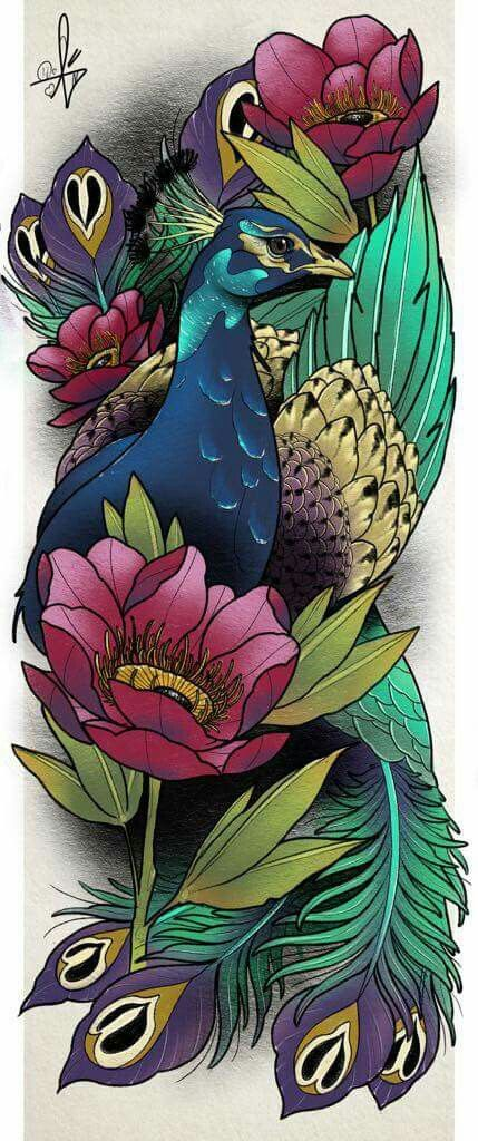 20 Peacock With Asian Flowers Tattoos Ideas And Designs