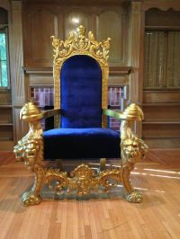 LARGE GOLD & BLUE LIONS HEAD KING CHAIR THRONE LOVESEAT ...