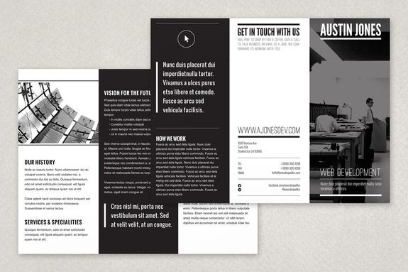 A Minimalist Modern Black And White Brochure Design That