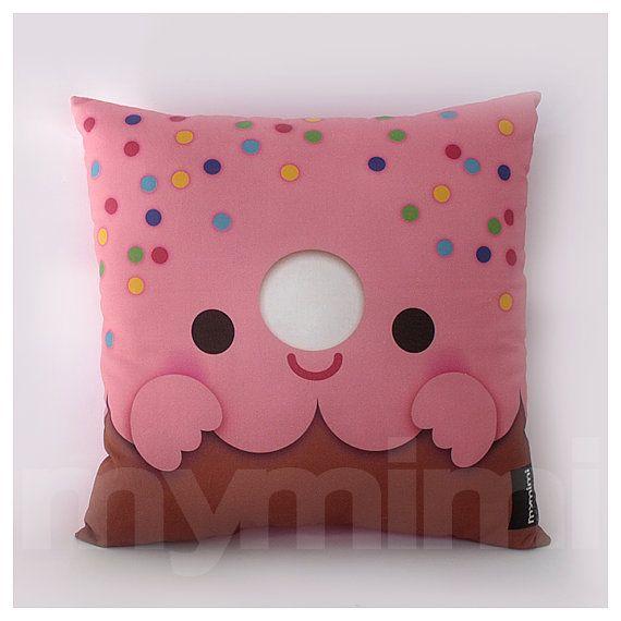 12 x 12 Pink Donut Pillow Stuffed Toy Kids Room Decor