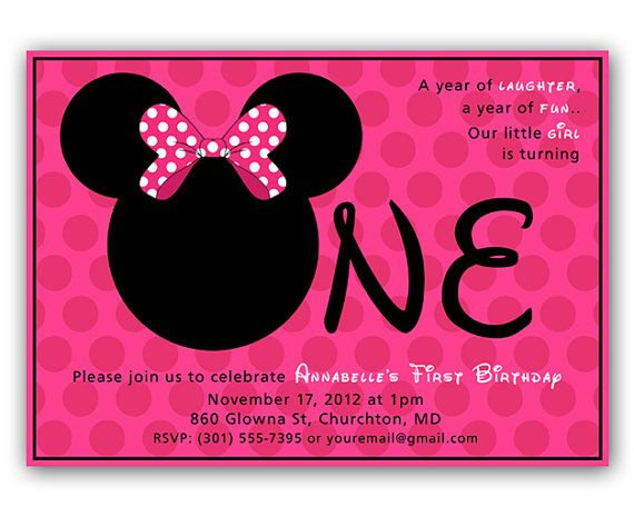 INSTANT DOWNLOAD Editable Minnie Mouse Inspired First