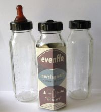 3 Vintage 1950s Glass Baby Bottles Even Flo | Bottle ...
