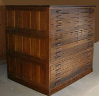 FLAT FILE CABINET ANTIQUE WOOD ART PLAN MAP BLUEPRINT ...