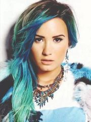 demi lovato blue ombre hair colourful