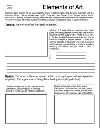 Elements of Art Worksheets