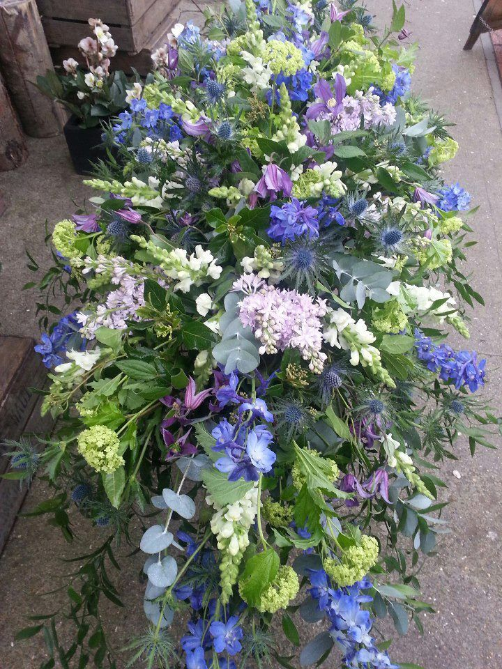 Violet And Green Floral Funeral Tribute Casket