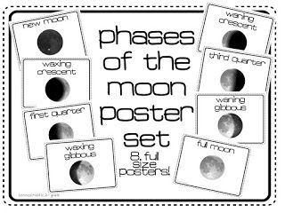Free printable of the phases of the moon! This is provided