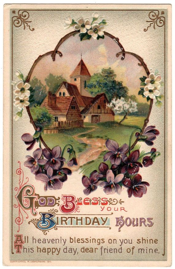 Pretty Antique Birthday Blessings Postcard Copyright 1911