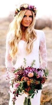 beach bride's long blonde wedding