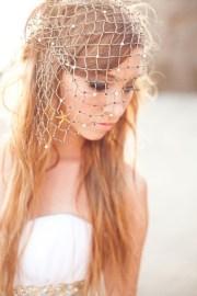 unique beach wedding fish net veil