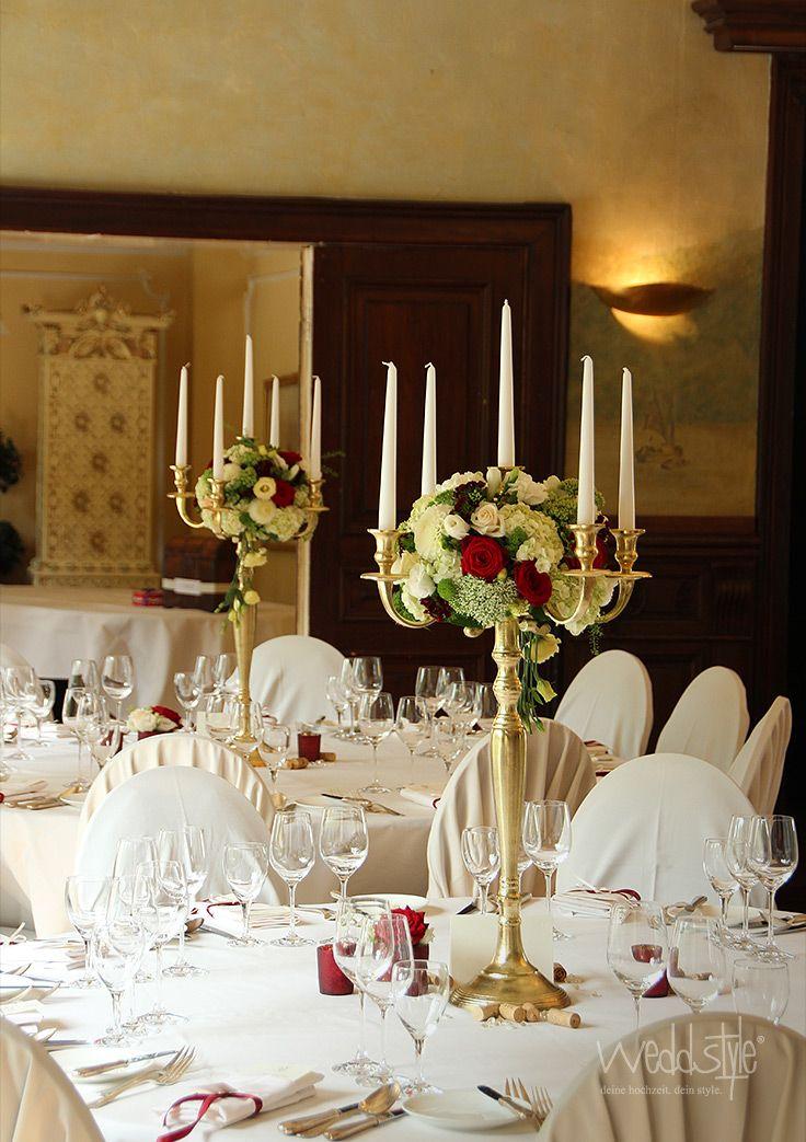 Goldener 5 armiger Kerzenstnder Kerzenleuchter fr Deine Tischdeko in GoldWei Kombiniert