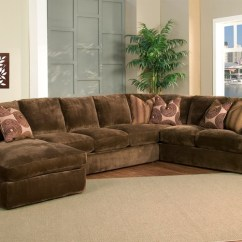 Sofa Mart Sectional White Records Champion Brown Fabric 4-peice Oversized Chaise ...