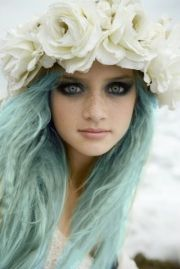 flower crown and blue hair modern