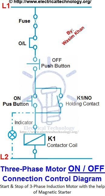 Wire Delta Wiring Diagram On Off 3 Phase Motor Connection Control Diagram