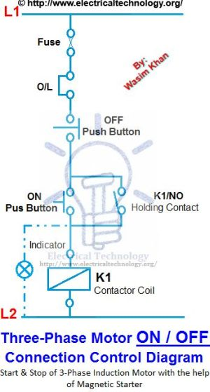 ON  OFF 3Phase Motor Connection Control Diagram