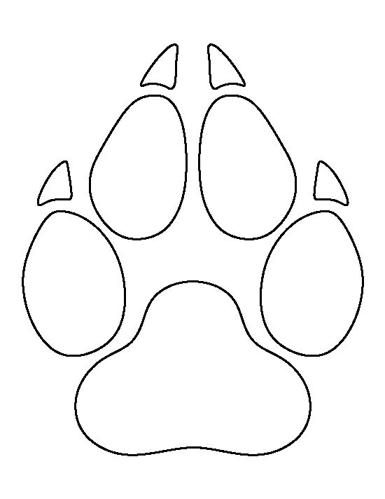 Wolf paw print pattern. Use the printable outline for