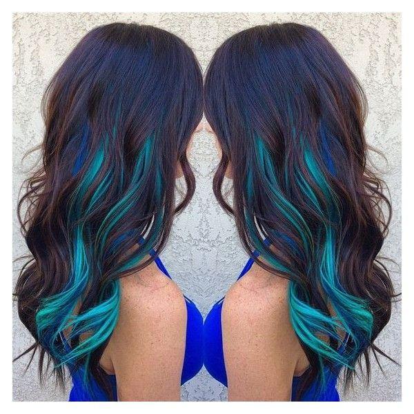 Blue Streaks In Brown Hair Hair Pinterest Of Hair Color