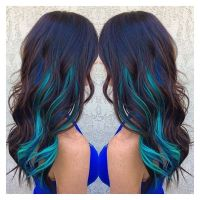 Blue Streaks In Brown Hair Hair Pinterest Of Hair Color