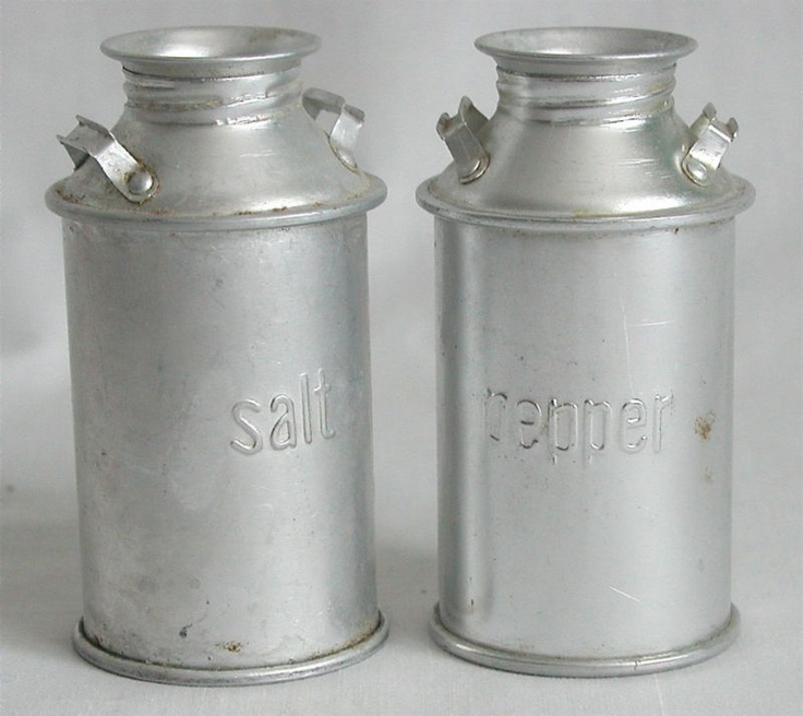 Salt Amp Pepper Shakers Tin Milk Cans 4H Vintage Style