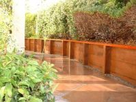 Pressure Treated Retaining Wall with Redwood Cap