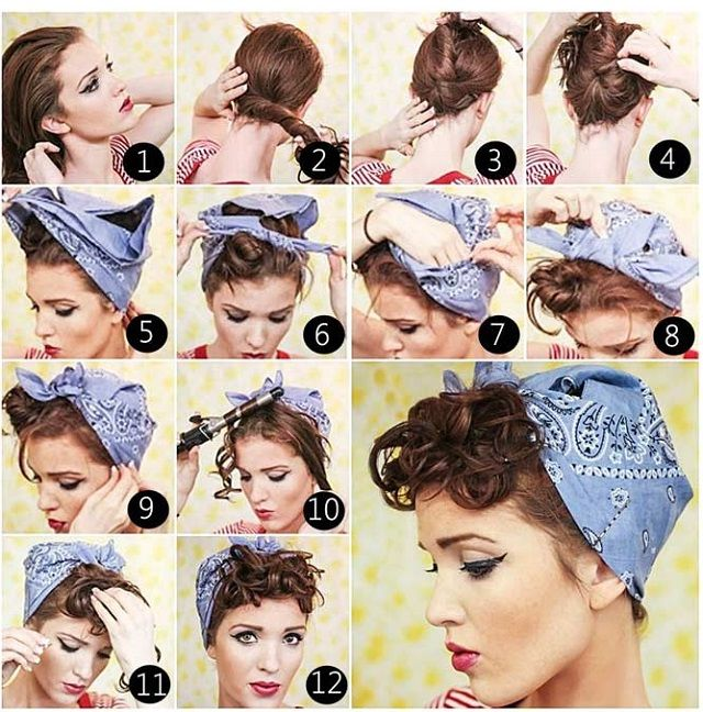 25 Best Ideas About Short Hair Bandana On Pinterest Rockabilly