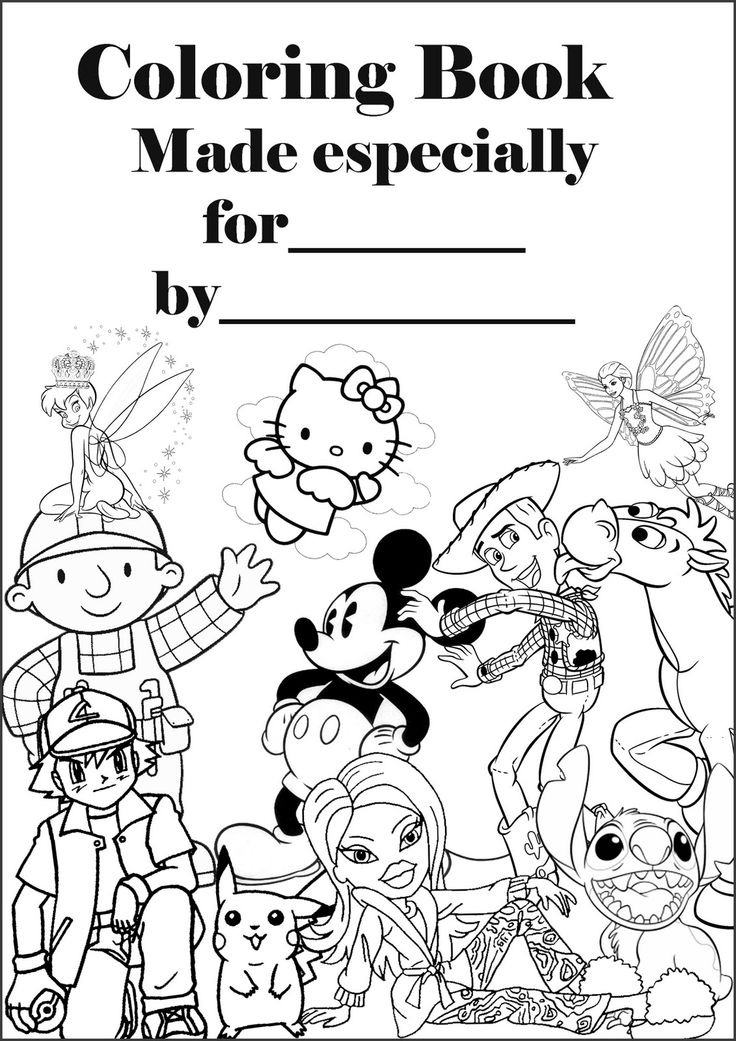 Make your own coloring book. Print this 'cover' and a
