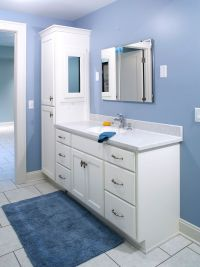 double bathroom vanity with attached tall cabinet
