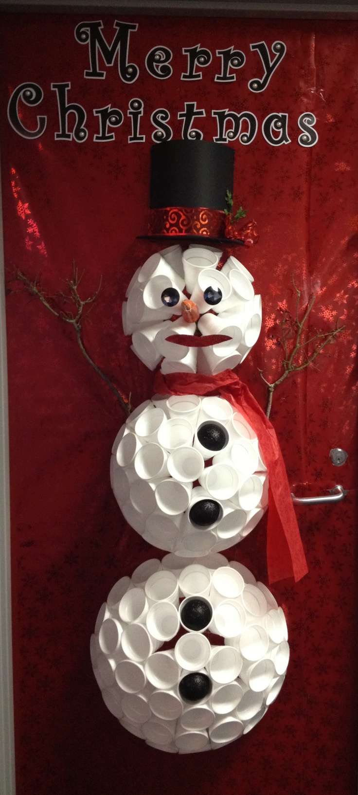 Door Snowman made from styrofoam cups