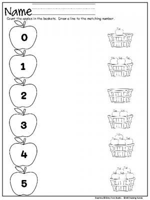 Apple Number Matching Worksheet (0-5) for Kindergarten and