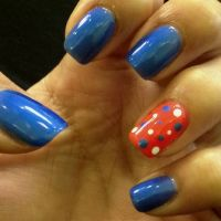Orange and blue nail design, polka dot | Nail Ideas ...