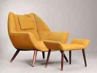 Kurt stervig: Easy Chair / Armchair with ottoman ...