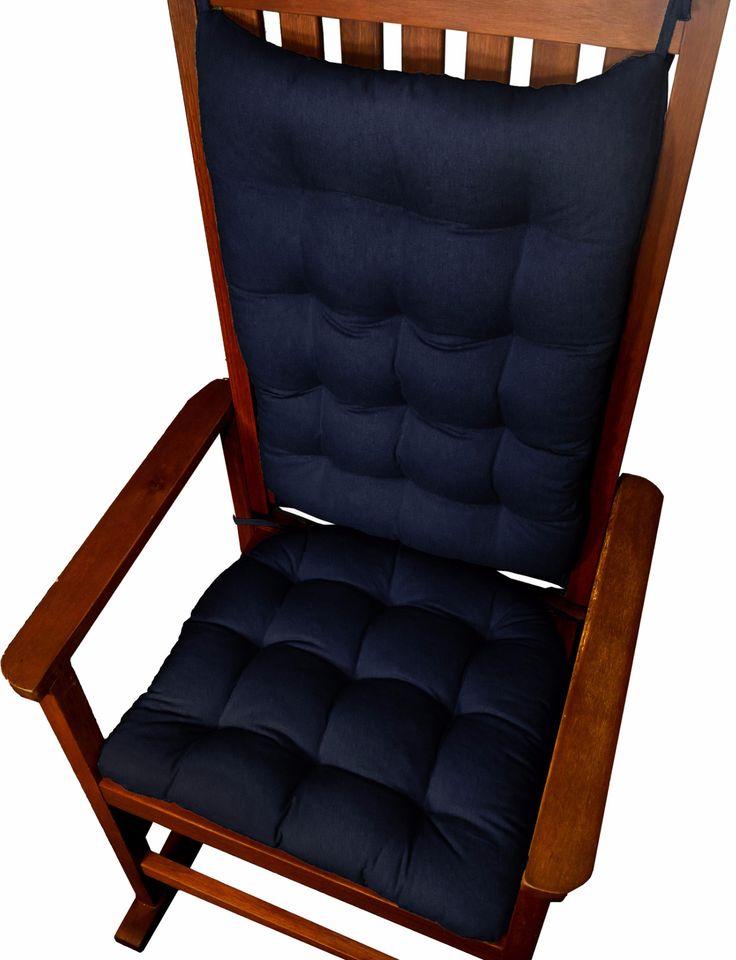 Cotton Duck Navy Blue Rocking Chair Cushions