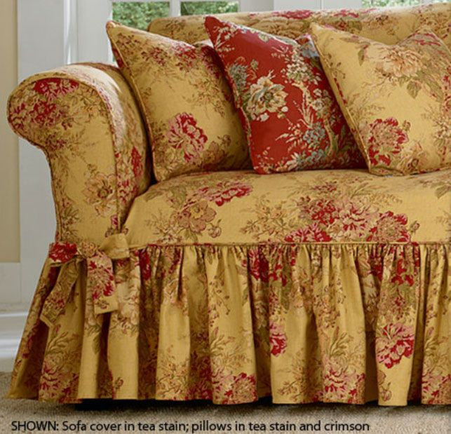 living room chair slipcovers tv wall surefit ballad bouquet by waverly slipcover | details ...