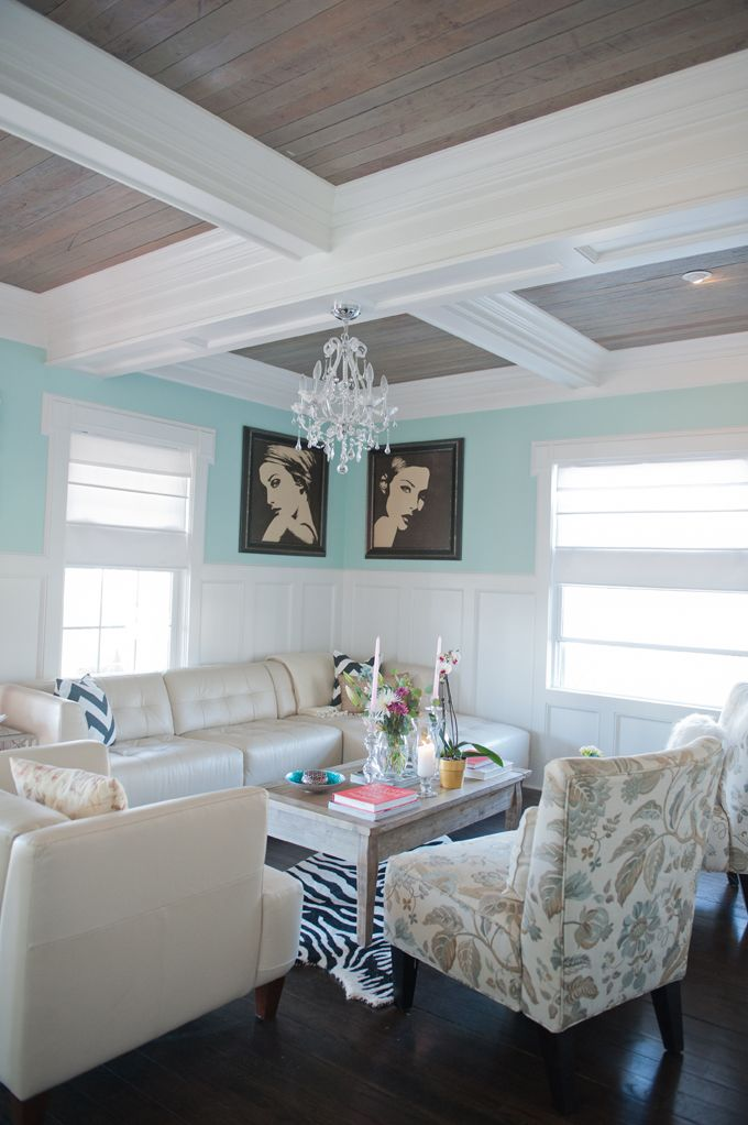 Coffered ceiling with wood inlay