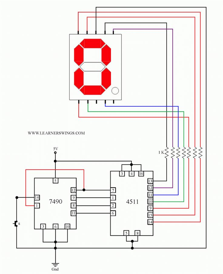 decade counter circuit diagram using 7490 of inner ear and sinus control a common cathode seven segment display 7490, 4511 press button switch read ...