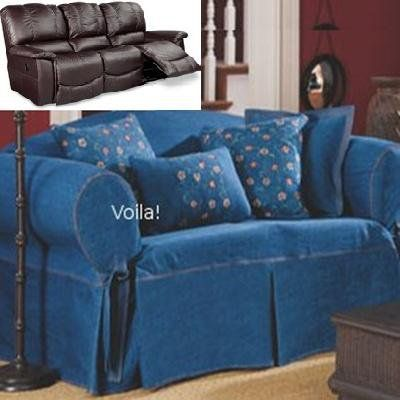 Reclining SOFA Slipcover Denim Blue Jeans Adapted for Dual