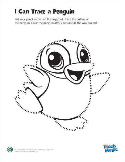 LeapFrog Printable Penguin Tracing Page- Trace and color