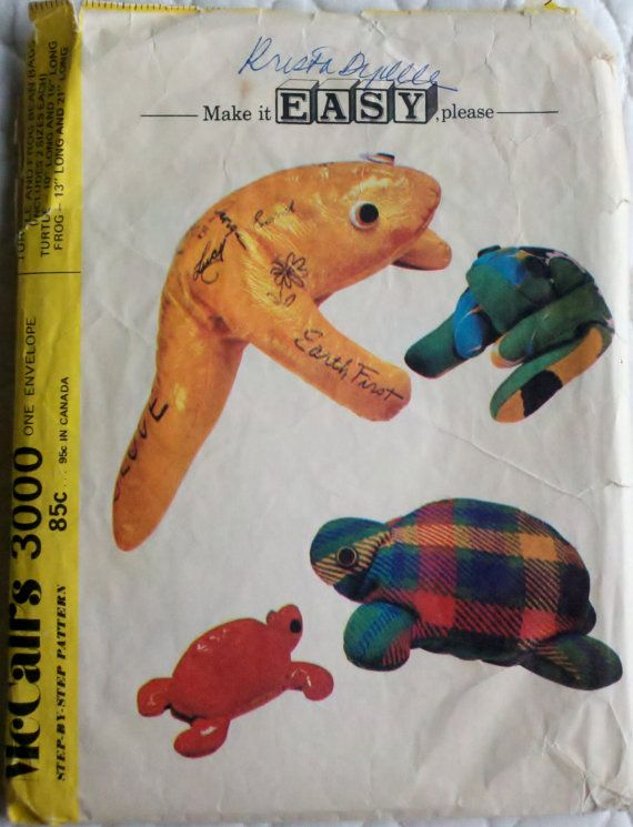 Vintage Sewing Pattern Bean Bag Stuffed Animals Frogs